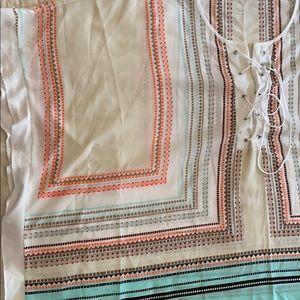 1X scarf BOHO stripe top /Mint green /Beige/White